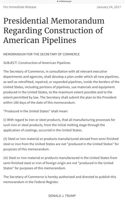Trump Pipeline Memo