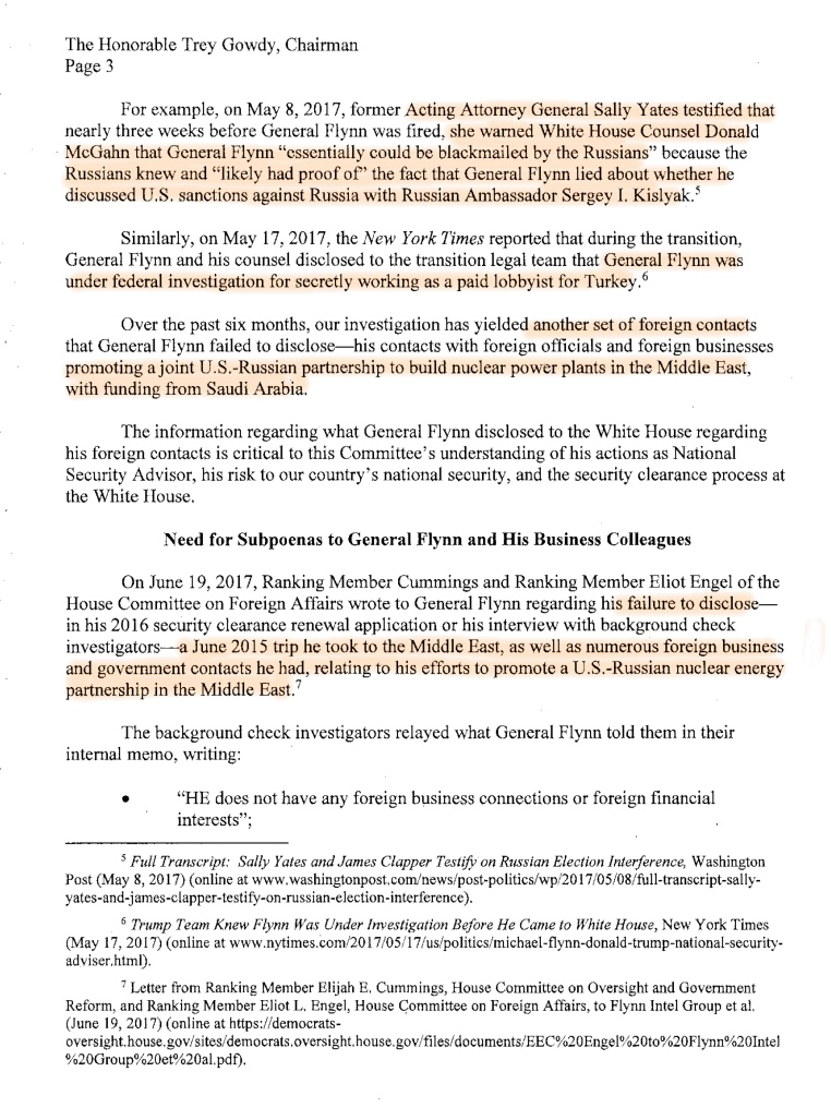 3 US House Democrats Oversight Committee Letter to Gowdy Re