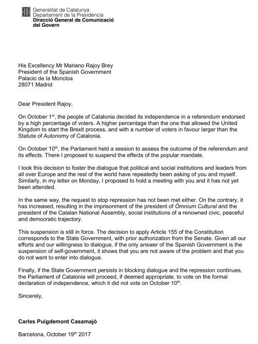Catalan President Puigdemont s Letter to the Prime Minister of
