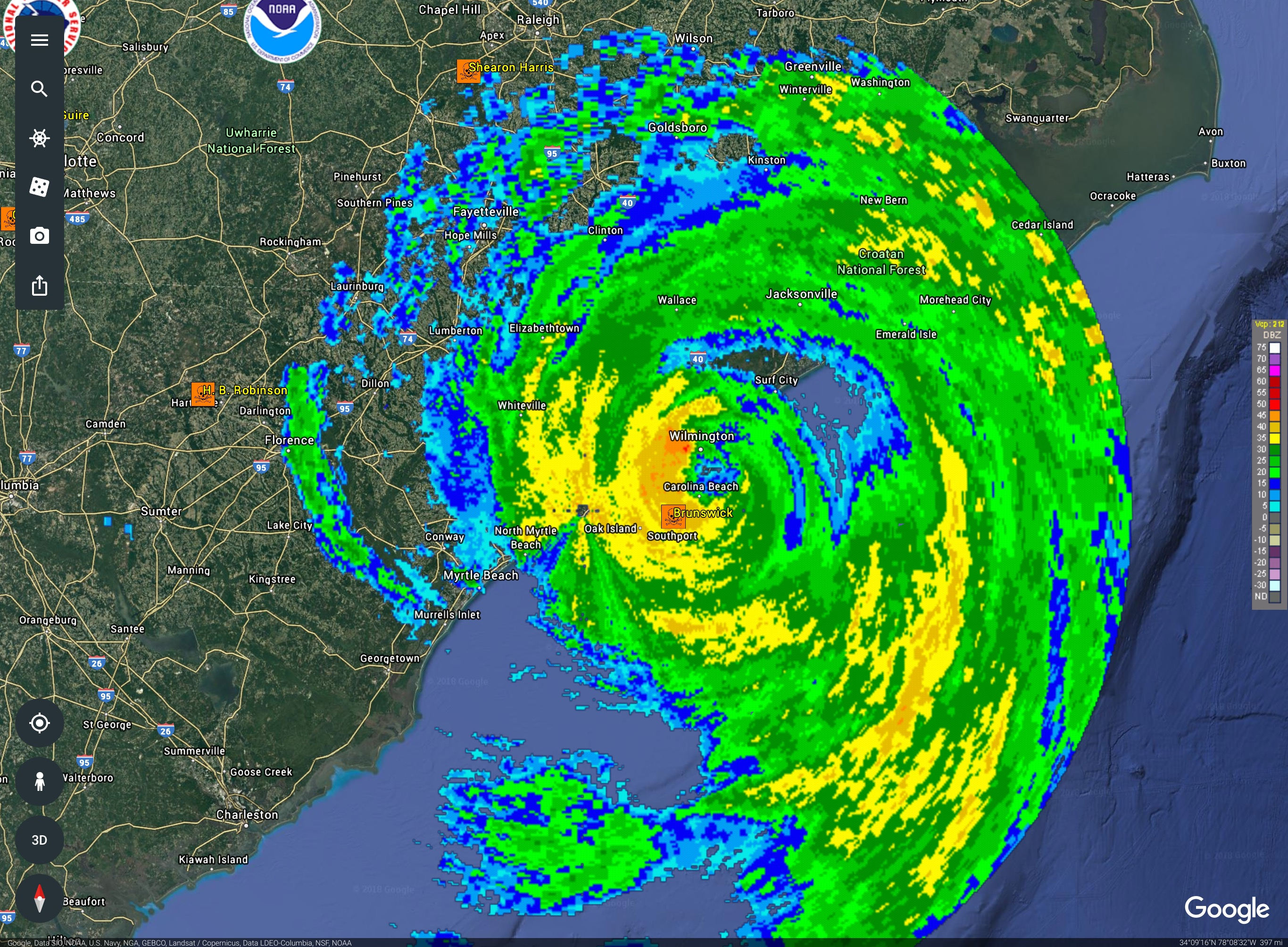 Hurricane Florence Landfall Radar With Location Of Nuclear Power
