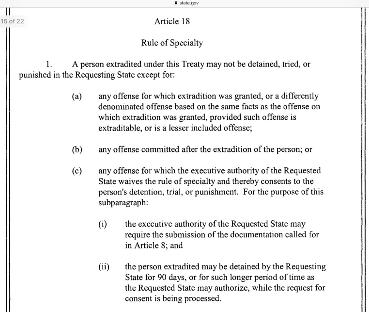 US UK Extradition treaty 2003 Rule of Speciality Article 18