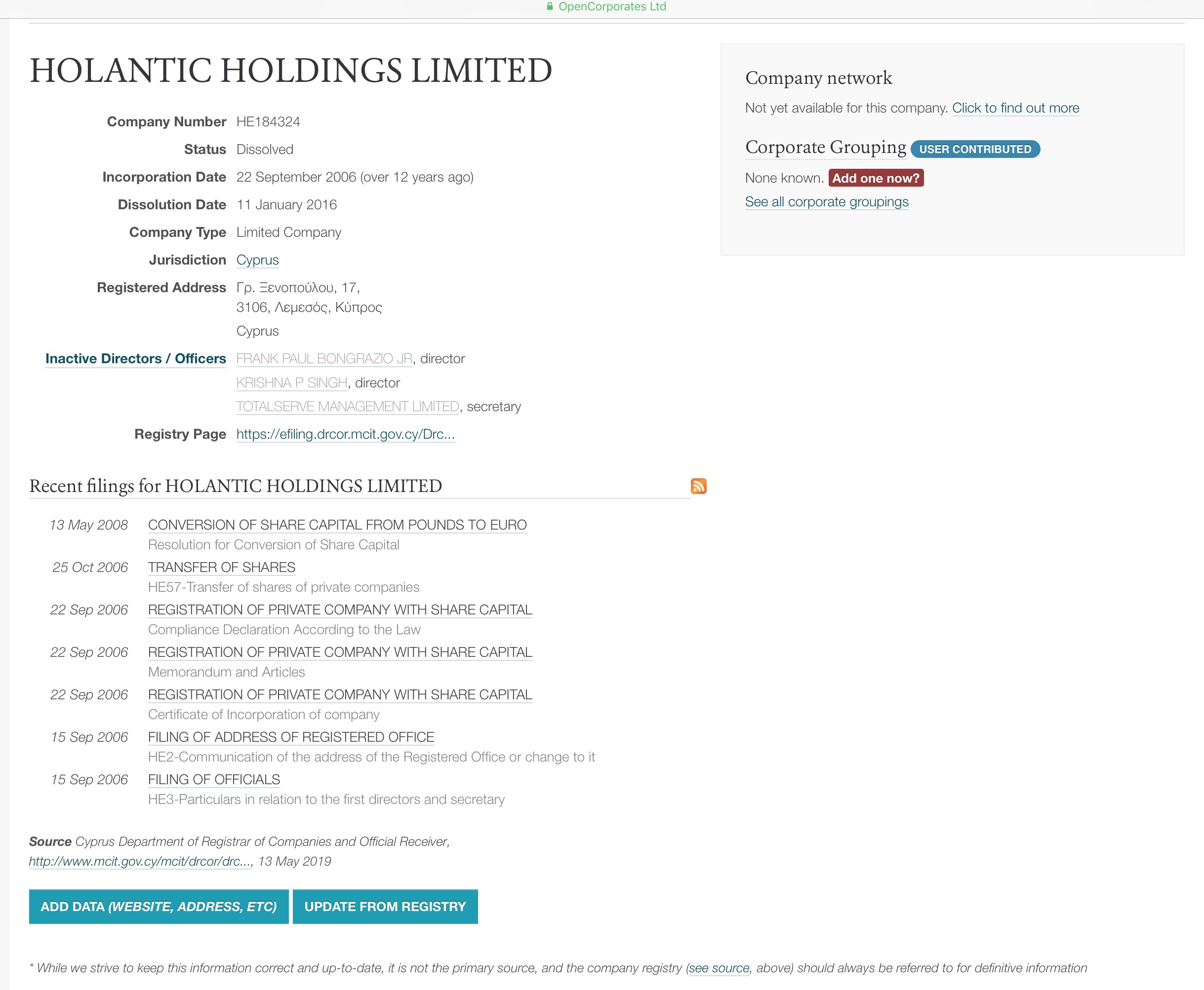 Was Holantic Holdings in Cyprus a Holtec International Shell Company