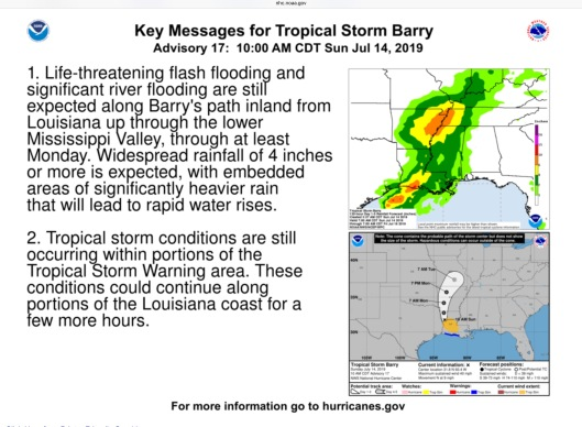 Tropical Storm Barry July 14th 2019 Updates-Outlook-Relevant